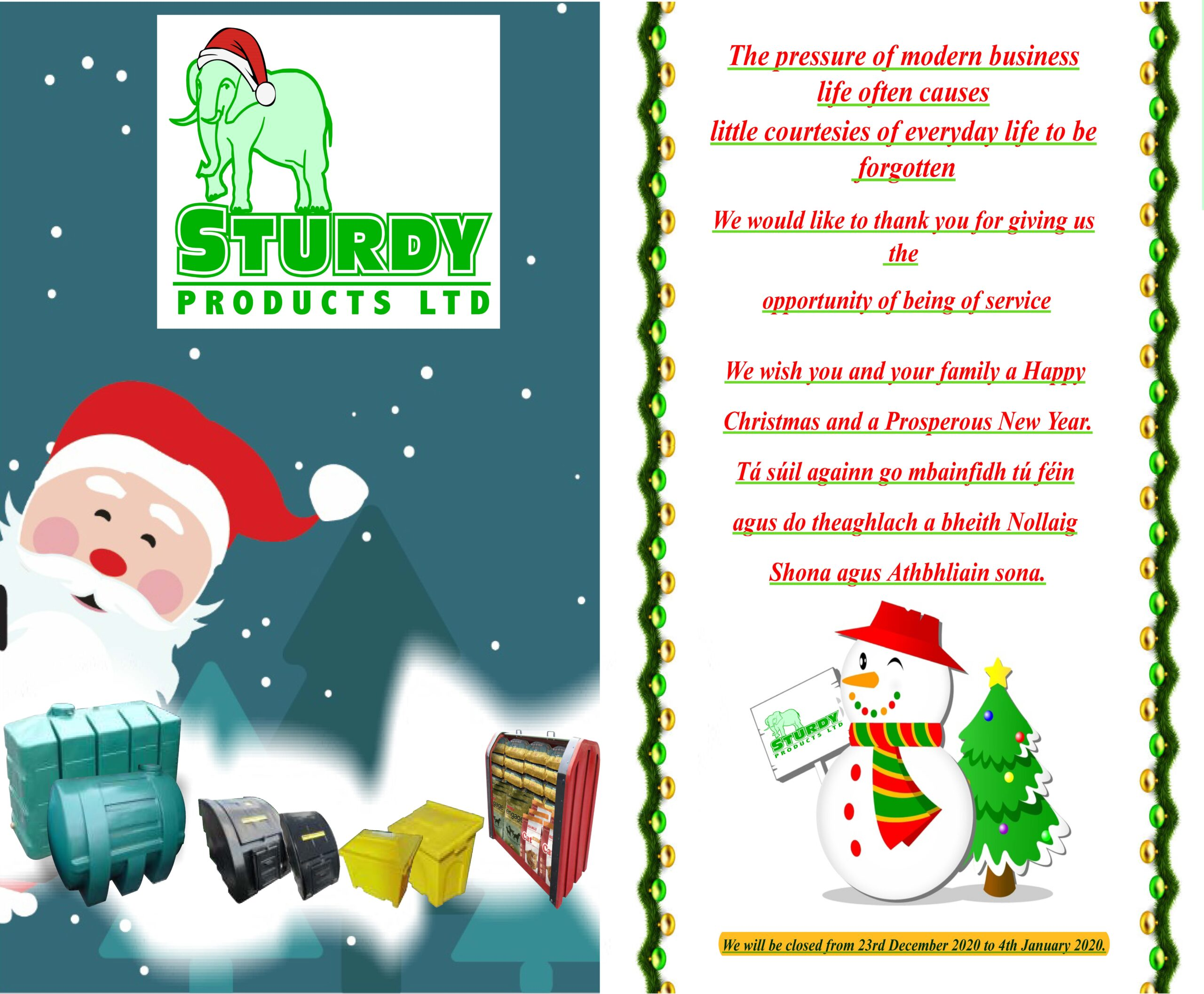 Happy Holidays From Sturdy Products!!